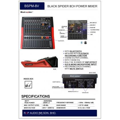 [BLACK SPIDER] BSPM-8V POWER MIXER 8 CHANNEL