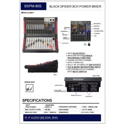 [BLACK SPIDER] BSPM-80S 8 CHANNEL POWER MIXER