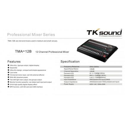 [TK SOUND] TMA-12B 12 CHANNEL PROFESSIONAL MIXER