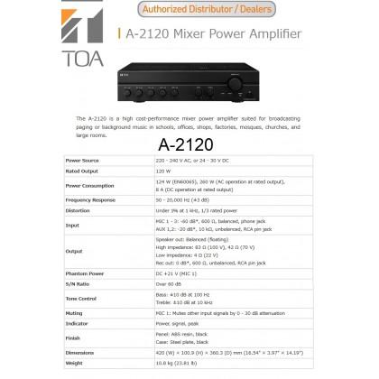 [TOA] A2120 P.A. AMPLIFIER
