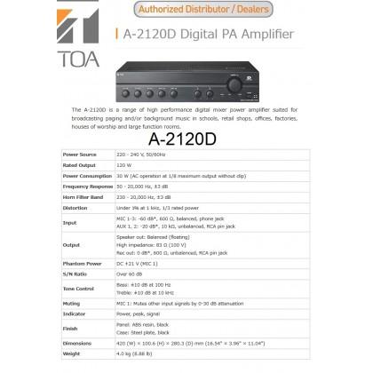 [TOA] A-2120D DIGITAL P.A AMPLIFIER