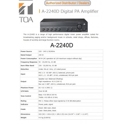 [TOA] A2240D DIGITAL P.A AMPLIFIER